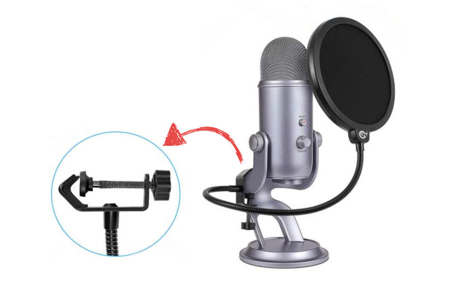 image of blue yeti with pop filter
