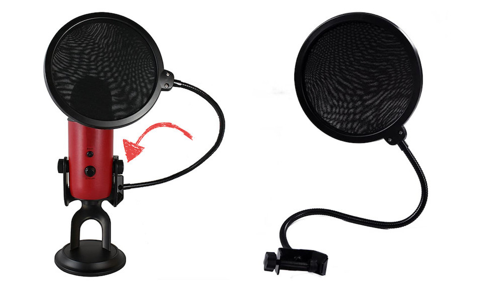 Pop filter specifically designed to work on Blue Yeti mics